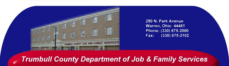 Heading introducing Trumbull County Jobs & Family Services.